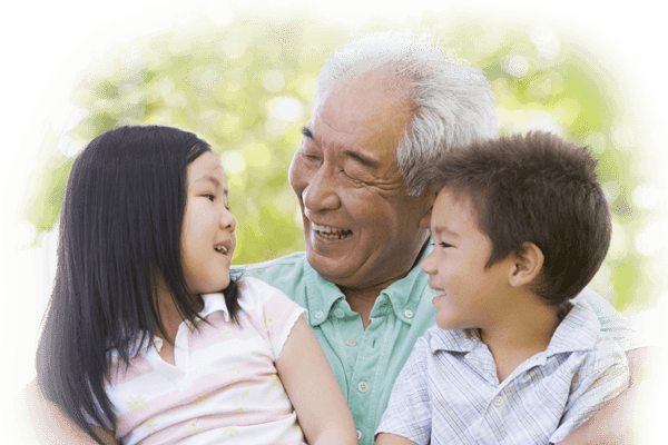 two childern are in happy mood with grandfather a section image for Honolulu Medicaid Planning Attorneys
